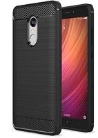 Husa Tpu Carbon Fibre Brushed Xiaomi Redmi Note 4 - negru
