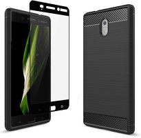 Pachet Combo Husa Nokia 3 Tpu Carbon Fibre Brushed + Glass Full Screen - negru