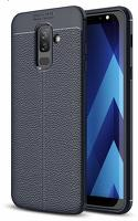 Husa  Samsung Galaxy A6 Plus (2018) - Silicon Tpu Brused Grain - albastru