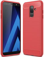 Husa Samsung  Galaxy A6 Plus (2018) - Tpu Carbon Fibre Brushed - rosu