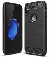 Husa  iPhone X Silicon Tpu Carbon Fibre Brushed - negru