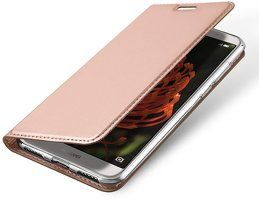 Husa   Huawei P Smart / Enjoy 7S  Dux Ducis din piele eco - rose gold