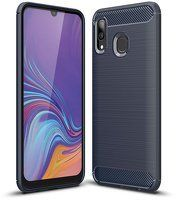 Husa Samsung Galaxy A40 – Silicon Carbon Fibre Brushed – Albastru