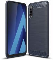 Husa Samsung Galaxy A70 – Silicon Carbon Fibre Brushed – Albastru