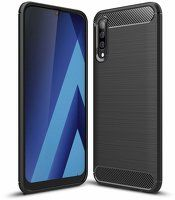 Husa Samsung Galaxy A70 – Silicon Carbon Fibre Brushed – Negru